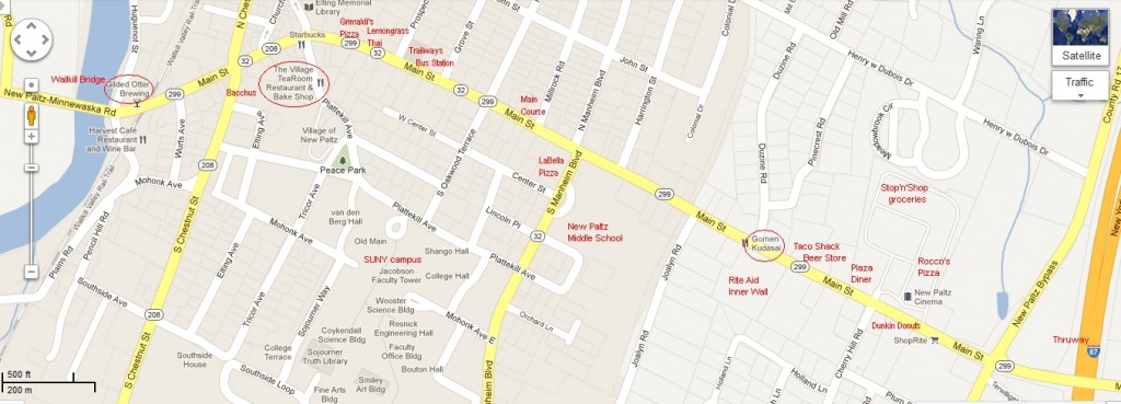 Map of Restaurants - New Paltz, Wide View