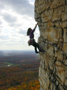 Cliffmama leading Bonnie's Roof, Gunks