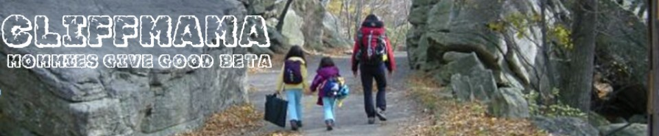 Header image for CLIFFMAMA.COM, showing mom and two small daughters walking towards the climbing area - with subheading - Mommies Give Good Beta