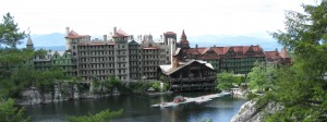 View of the beautiful Mohonk Mountain House Resort on Lake Mohonk.