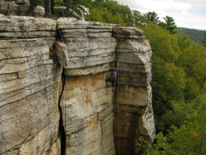 "Marcy climbing inside the beautiful corner of ""Golden Dream"", 5.9+ at Peter's Kill, Minnewaska State Park Preserve"