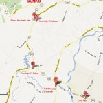 Map of Gardiner, NY, near the Gunks, with restaurants highlighted.