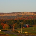 View of the Trapps Cliff in autumn, the main cliff band at the Gunks