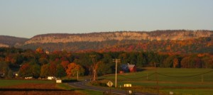 Autumn view of the Trapps Cliff, the main cliff band at the Gunks, part of the Mohonk Preserve