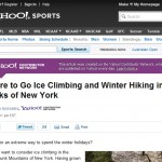 Screenshot of Yahoo! Sports web page with bogus ice climbing article displayed.