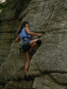 Cliffmama top roping at the Gunks on a 5.10 climb named Squiggles Direct