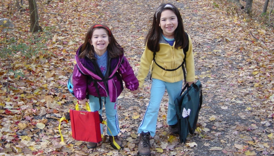 Picture of my very young climbing kids carrying their climbing gear at the Gunks back in 2002.