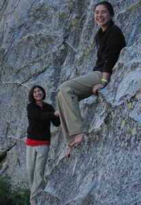 My teenage daughters at the base of Lover's Leap, Lake Tahoe.