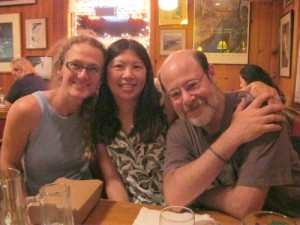 Three of us in the Mountain Brauhaus German restaurant after a fantastic meal.