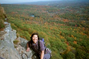 Cliffmama on the top of a climb at the Gunks