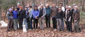 A large group of volunteers who came to do trail maintenance with the Gunks Climbers' Coalition at Minnewaska State Park