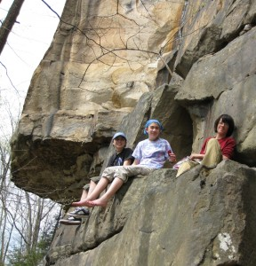 Climbing with teenagers at the New River Gorge - Jasmine, Ariel and Alex relaxing on a ledge, 2011.