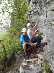 My daughter Jasmine when she was 13 and her friend Brittany on a ledge climbing multipitch at the Gunks.