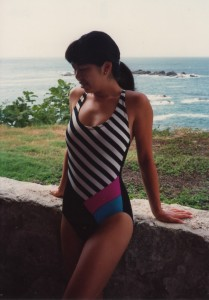 28 year old Cliffmama looking slim in a bathing suit, posing in front of the ocean at a Club Med in Mexico.