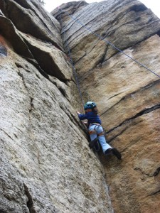 My tiny 9 year old daughter cruising Golden Dream, Peter's Kill, the Gunks, on top rope.