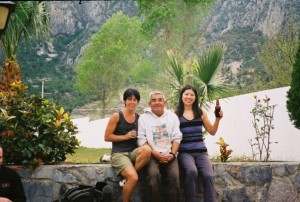 Sue and I having a cerveza with our friend Gilberto from La Pagoda, Potrero Chico, Mexico.