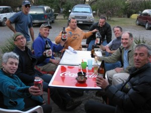Hanging out drinking with a big group of new and old climbing friends at La Posada, at Potrero Chico, Mexico.