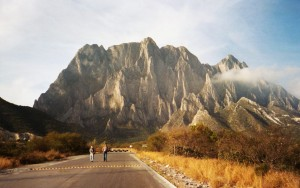 View of the El Toro cliff. Potrero Chico rock climbing area, Mexico