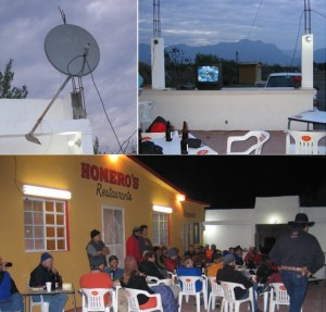 Collage from Superbowl watching party at Homeros, Potrero Chico - garden hoe supported satellite dish, tiny TV and climbers on the patio.