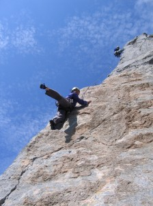 Cliffmama dancing while rock climbing the Spires, Potrero Chico, Mexico.