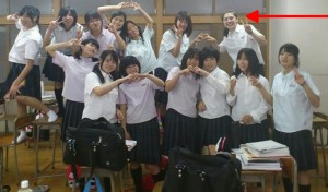 My daughter with her Japanese classmates in Fukuoka.