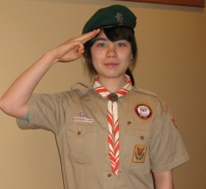 My daughter dressed in her Japanese boy scout uniform
