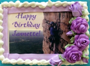 My birthday cake with edible image of me rock climbing on it.