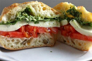 Mozzarella, tomato, and basil pesto sandwich  at the Cheese Plate in New Paltz, NY