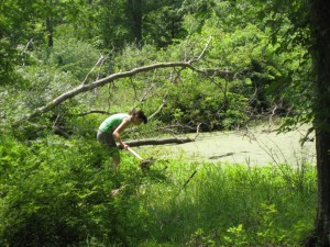 A photograph of my daughter clearing muck from the outlet of our pond.