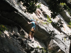 My daughter about to climb the first and easier roof of Something Scary, Gunks