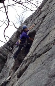 "Jannette Pazer leading ""Triangle"" (5.9-), Gunks 4/13/2014"