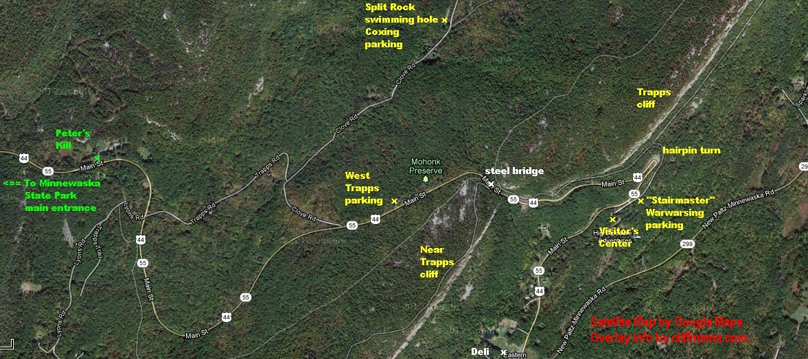 Satellite map of the main Gunks climbing area, including Mohonk Preserve parking lots and the Peter's Kill climbing area of Minnewaska State Park Preserve.