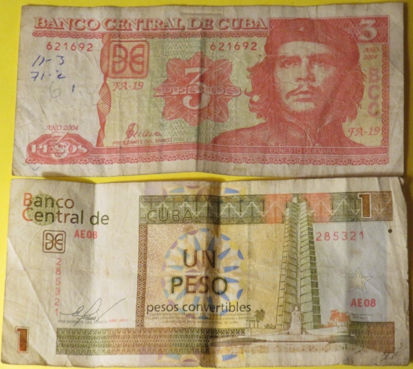 Cuban currency, CUPs and CUCs.