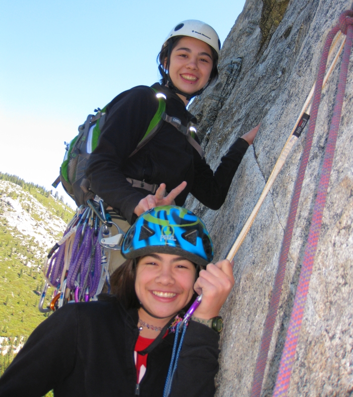 Climbing with my kids on Bear's Reach at Lover's Leap, CA.