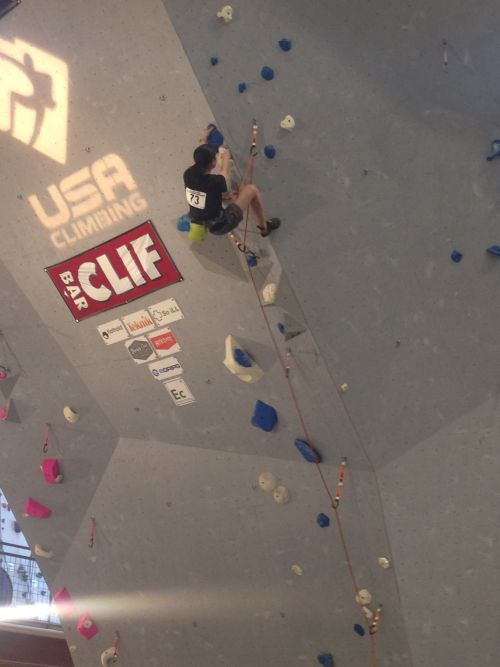 My daughter climbing in the USA Climbing Collegiate National Competition finals.