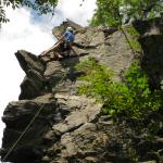 Jasmine climbing Dolt, Rumney, NH