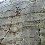 "Ariel top roping ""Eastertime Too"" in 2006; Rock climbing in the Near Trapps, Gunks"